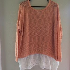 Sz 1XL Umgee layered style sweater with lace